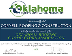 Oklahoma Roofing Contractors Association logo for Coryell Roofing & Construction