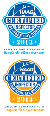 Haag Certified Inspector for Commercial & Residential Roofs 2013 Logo
