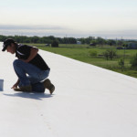 Coryell commercial roofer inspecting finished project