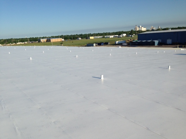 Finished commercial roofing project by Coryell
