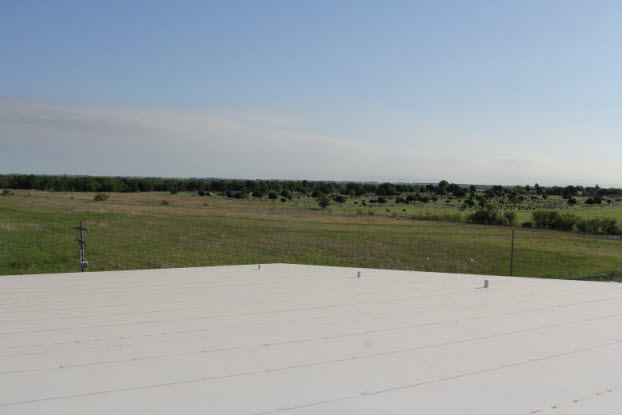 White roofing system by Coryell in Oklahoma countryside
