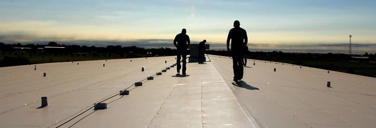 Two Men Walking On A Roof