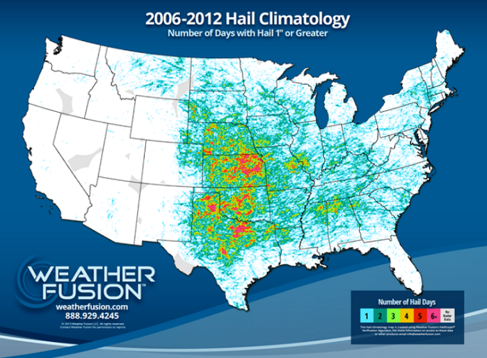 Hail Map of the United States - Coryell Roofing