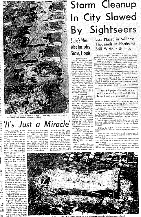 Headlines from The Oklahoman in 1978 after three tornadoes hit Oklahoma City and the surrounding area on April 30th.