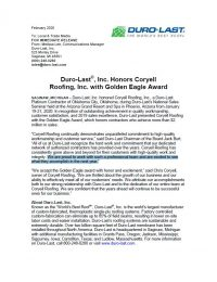 Open The Coryell Roofing Golden Eagle Award Press Release