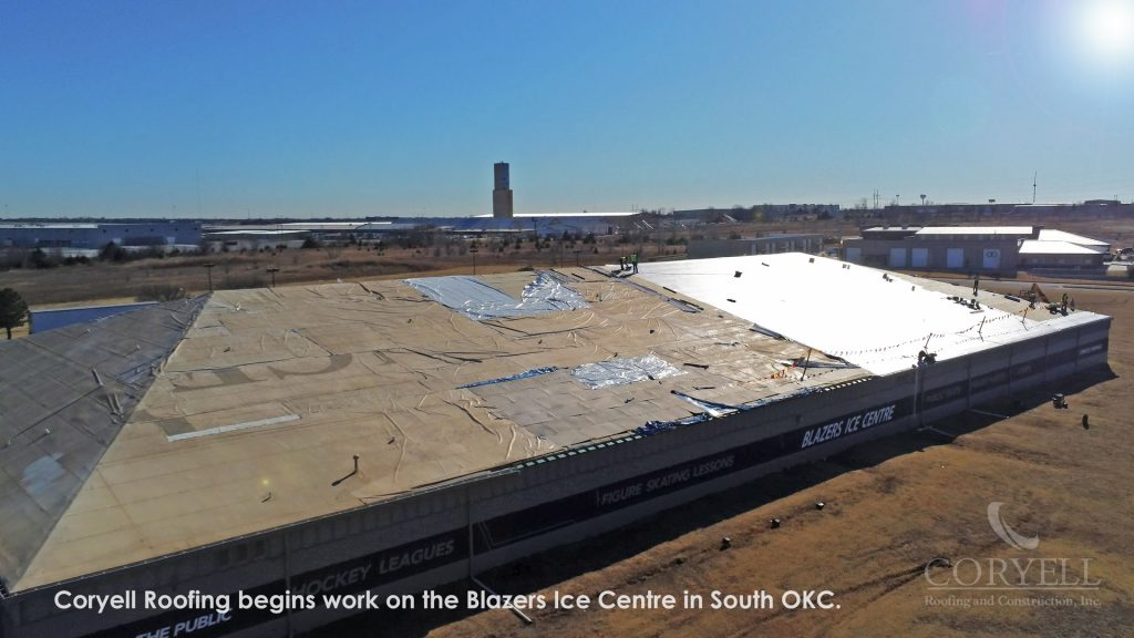 Coryell Roofing begins work on the Blazers Ice Centre in South OKC.
