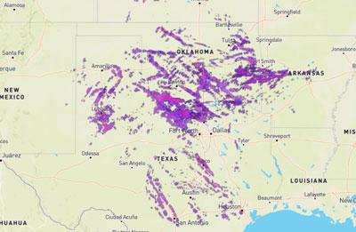 Regional Hail activity based on NOAA radar data.